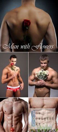 Stock Photo - Sexy Naked Man with Flowers