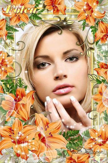 Flower frame for Photoshop - Solar Lilies