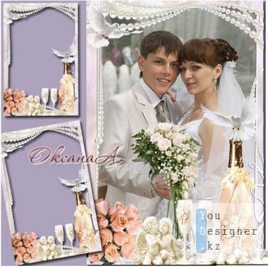 Wedding photo frame - Two angels