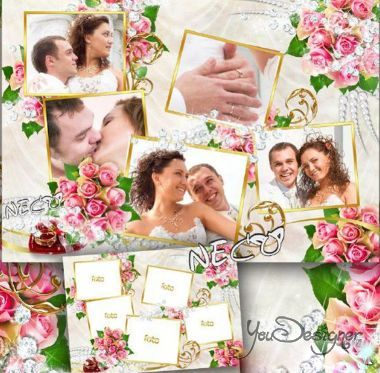 Wedding frame for creation of photo collage with five pictures - Wedding collage