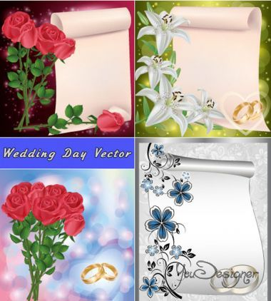 Wedding scrolls with lilies roses and rings (Vector)