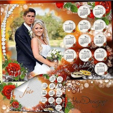 Wedding calendar with magnificent red roses for 2013 with a frame for the photo