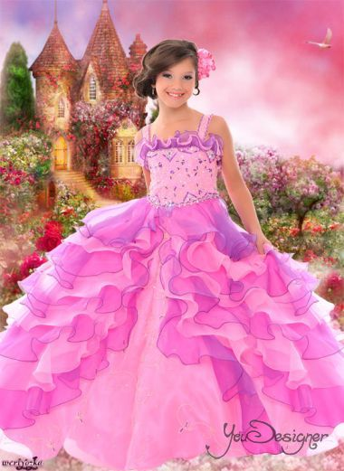 PhotoMontage - Beautiful Princess in the castle with the marvelous roses