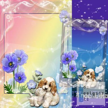 Children frame with kitten and puppy - Tender friendship