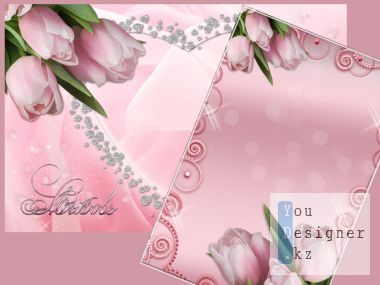 Romantic Photoframe with tulips - Love