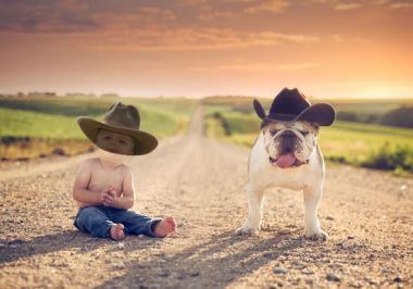 Children's template for photoshop - Two cowboys