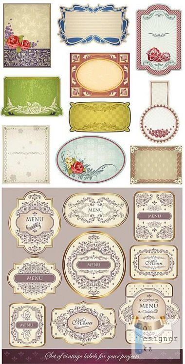 Vintage labels and backgrounds