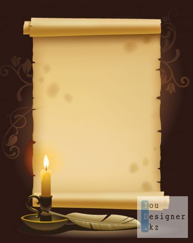 Vintage clipart - of Parchment and a quill (Vector)