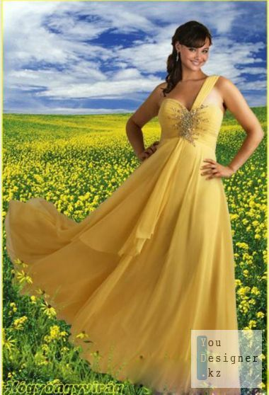 Women's Photoshop template - Yellow dress with yellow field