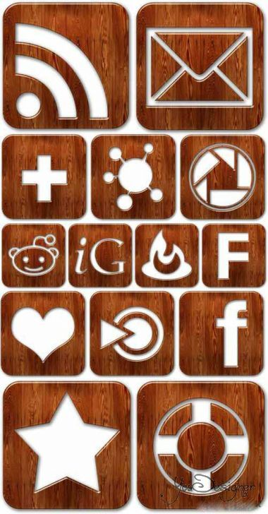 Collection of wooden PNG icons