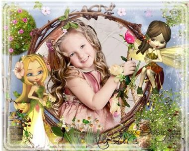 Bright children's фоторамочка with bright and funny fairies in fairyland