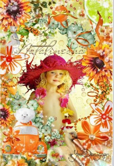Bright children's frame with flowers - my Mood today, Апельсинное...