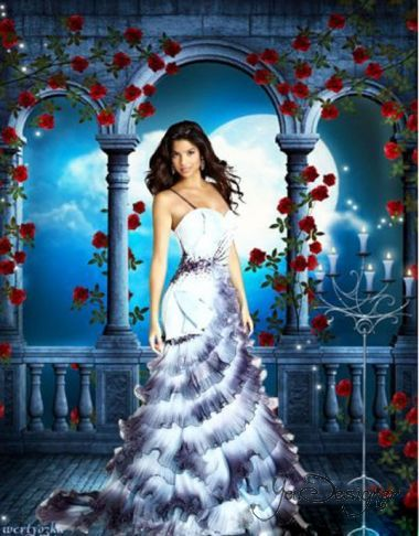 Female psd template - Girl surrounded by roses and magical moonlit night