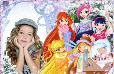 Children's frame for the photo - winter in the country of winx fairies