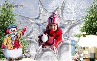 Winter photo frame - Слепим we snowman