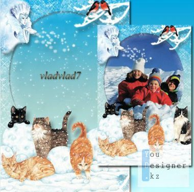 Winter photo frame with kittens - Snow queen
