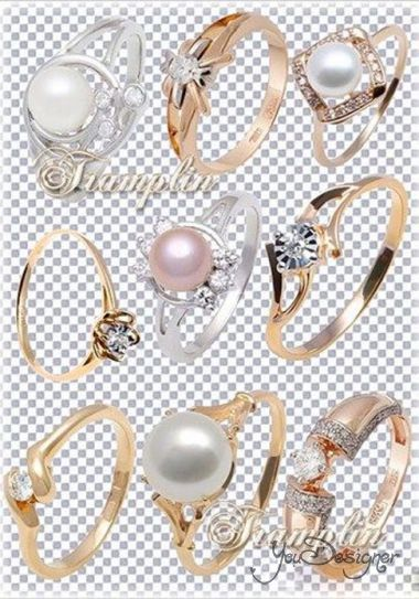 Gold and silver rings with diamonds and pearls