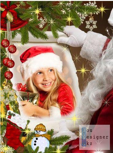 Новогодняя рамочка для фотошоп - У Деда Мороза