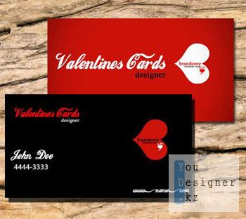 Бизнес карта (визитка) - Валентинка / Valentine Business Cards