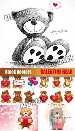 Stock Vectors - Valentine Bear | Медвежата с сердцами