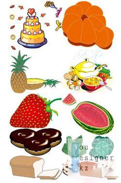 Vector Cliparts - Food & Fruits
