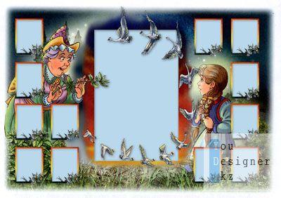 Оригинальная детская виньетка с сюжетом сказки №12