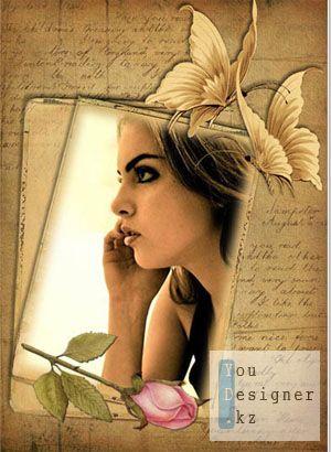 Винтажная рамка с розой и бабочками - Нежность / Vintage frame with roses and butterflies - Tenderness