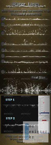 Шаблон для фотошопа - Водные линии / Water Lines