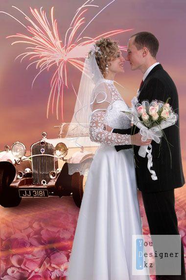Свадебный коллаж с машиной