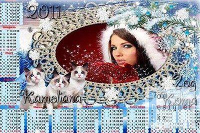 Новогодний календарь с вырезом для фото Год КОТА