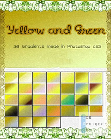 Градиенты для фотошоп - Желто зеленые / Gradients for photoshop - Yellow green