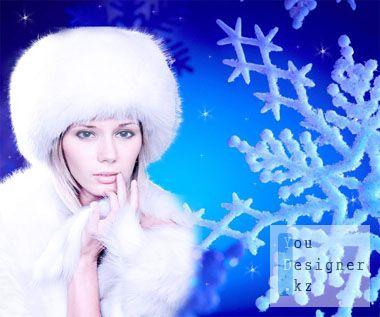 Шаблон для фотомонтажа: Зима